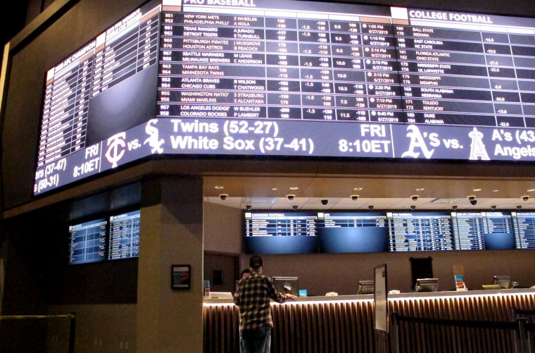 a customer at the new sportbook at Bally's casino in Atlantic City, N.J. on June 27, 2019.
