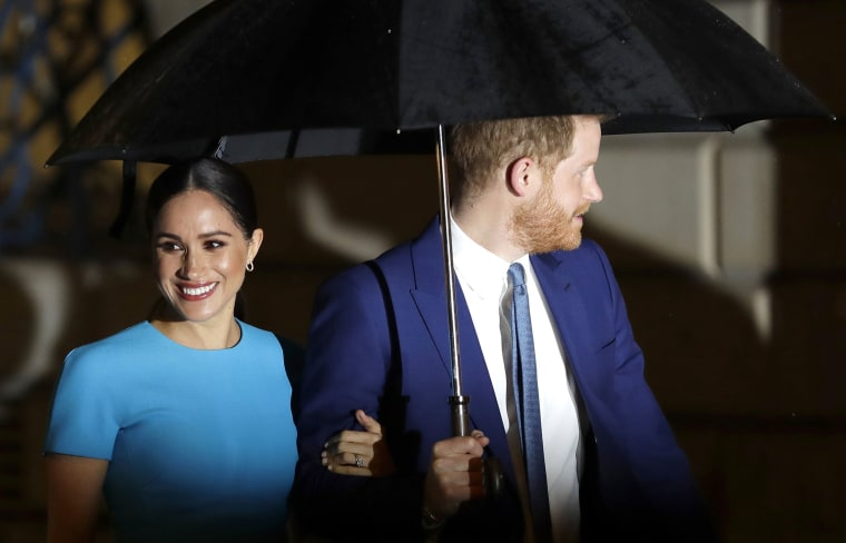 Image: Britain's Prince Harry and Meghan, the Duke and Duchess of Sussex arrive at the annual Endeavour Fund Awards in London