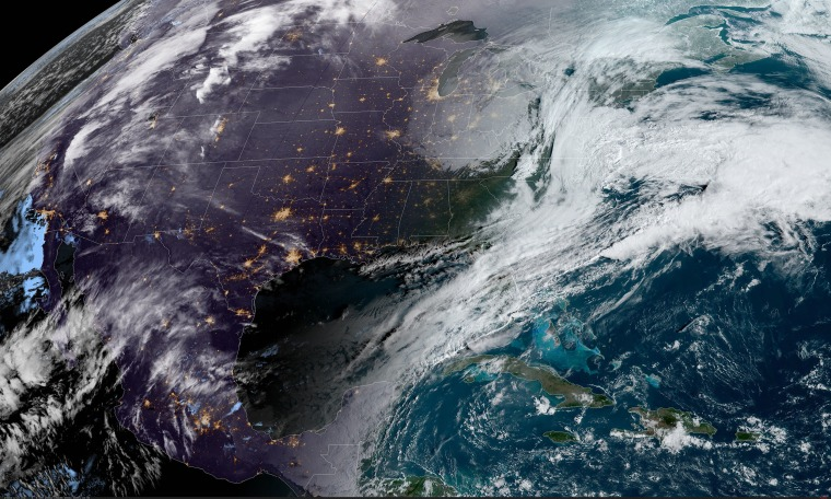 Image: A satellite image shows weather over the continental United States on March 6, 2020.