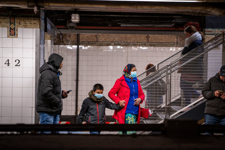 Image: Travelers wear medical masks at Grand Central station on March 5, 2020 in New York City.