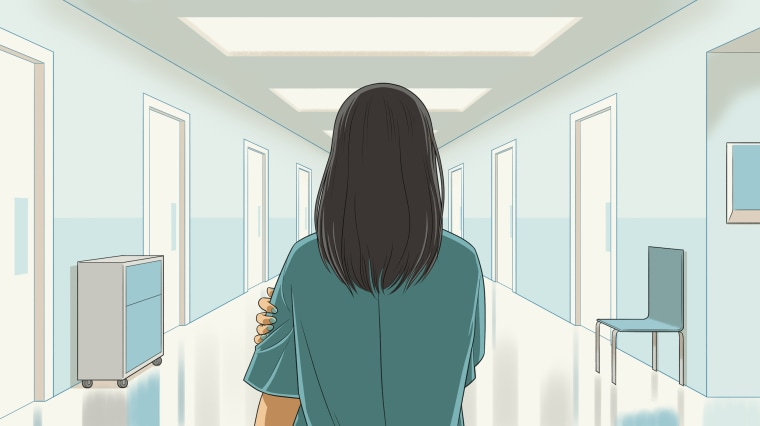 Illustration of woman standing in empty hospital hall.