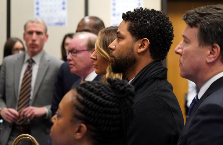 """Image: Former \""""Empire\"""" actor Jussie Smollett appears in a courtroom at the Leighton Criminal Court Building for his arraignment, in Chicago"""