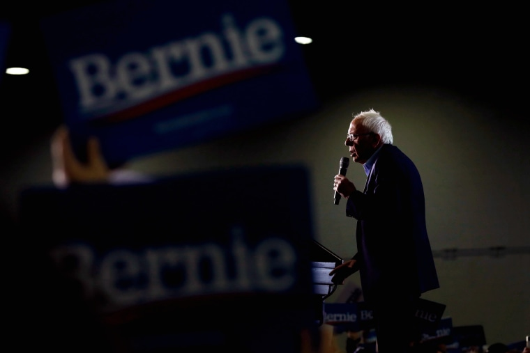 Image: Sen. Bernie Sanders speaks at a campaign rally in Detroit, Mich., on March 6, 2020.
