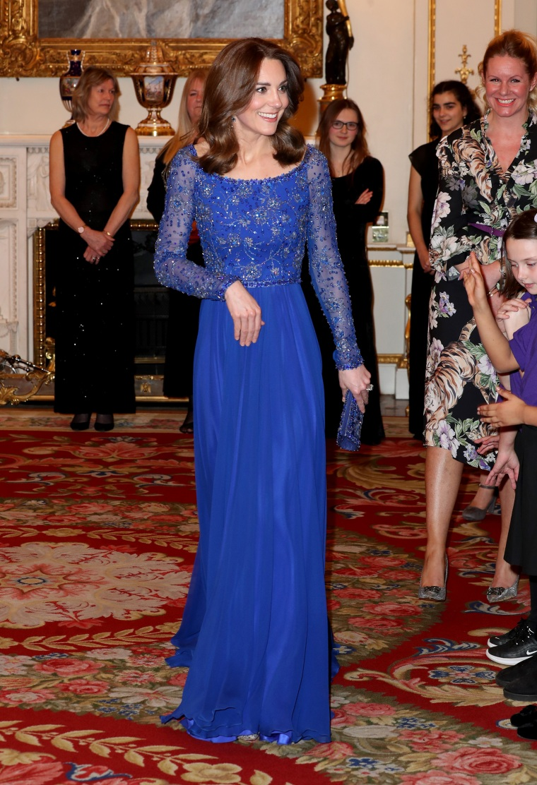 Kate Middleton Re Wears Gorgeous Royal Blue Gown For Charity Event At Buckingham Palace
