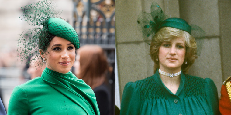 Meghan Markle's emerald green ensemble resembled an outfit Princess Diana once wore.