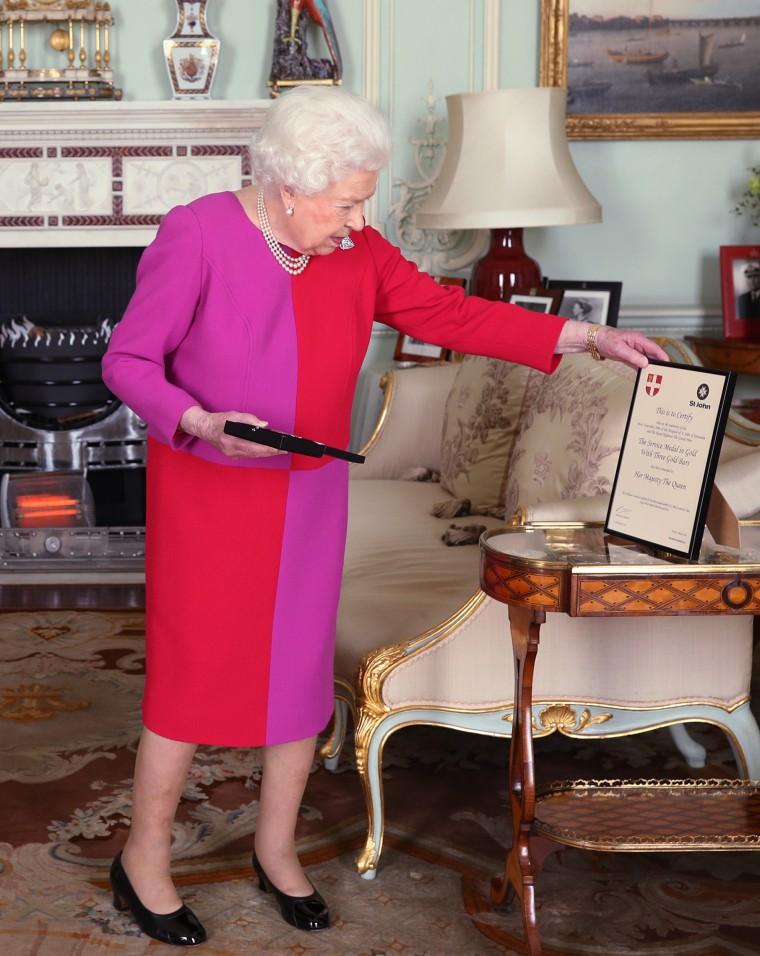 Queen Elizabeth II red and purple