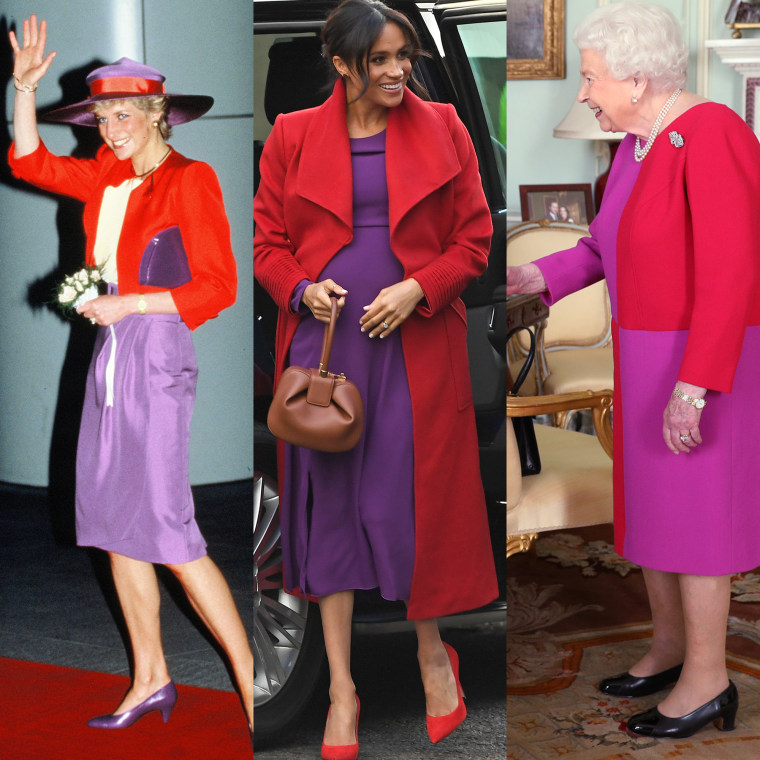 Princess Diana, Meghan, Duchess of Sussex and Queen Elizabeth II have all worn the red and purple combo before.