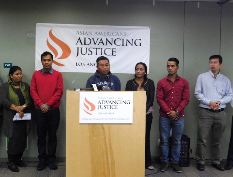 Posda Tuot speaks about his cousin, Nak Kim Chhoeun, during a press conference announcing a lawsuit about ICE detentions of Cambodian Americans Wednesday.