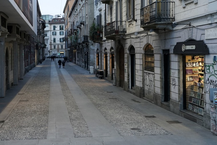 Image: Empty streets around the Via Corsico in Milan, Italy