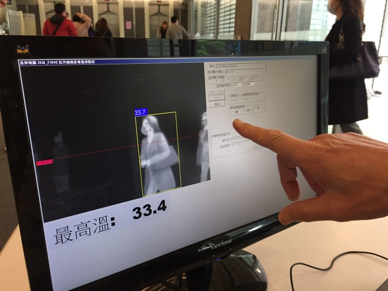 Image: The building manager monitors temperatures of bank customers before they enter a bank in Taiwan.