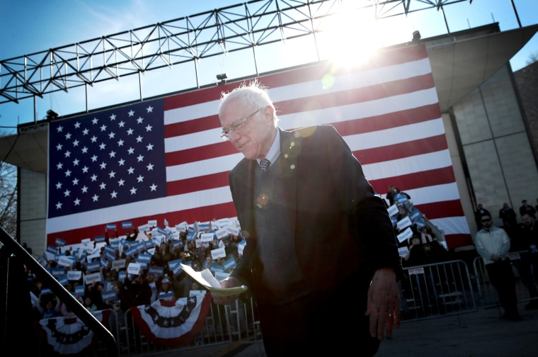 Image: Sen. Bernie Sanders arrives for a campaign rally in Chicago on March 7, 2020.
