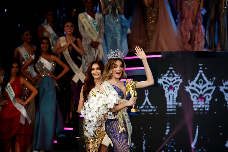 Image: Mexico's Valentina Fluchaire waves after being crowned Miss International Queen 2020, a transgender beauty pageant, in Thailand on March 7, 2020.