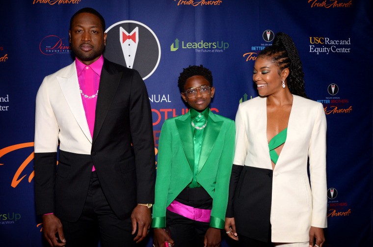 Image: Dwyane Wade, his daughter, Zaya, and Gabrielle Union attend the Truth Awards in Los Angeles on March 7, 2020.