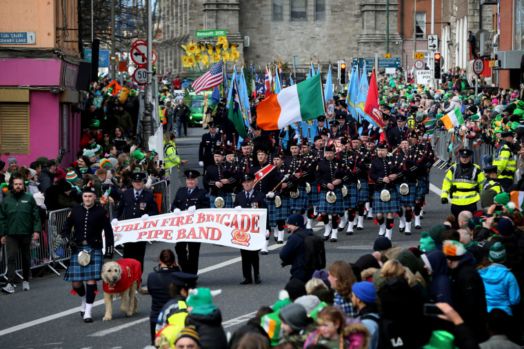 Image: Crowds watch the St. Patrick's Day Parade in Dublin, Ireland, on March 17, 2019.