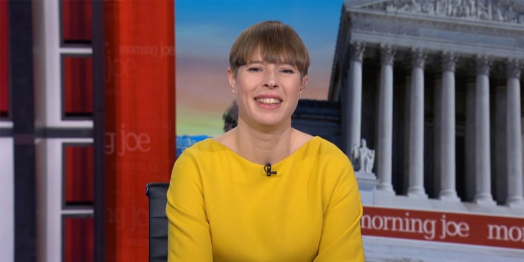 "Estonian President Kersti Kljulaid interviewed on MSNBC's ""Morning Joe."""