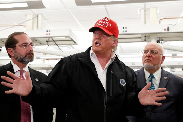 Image: President Donald Trump tours the Center for Disease Control in Atlanta, Georgia