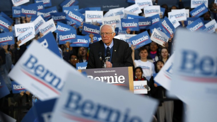 Image: Democratic presidential candidate U.S. Sen. Bernie Sanders, I-Vt., speaks during a campaign rally at the University of Michigan in Ann Arbor, Mich