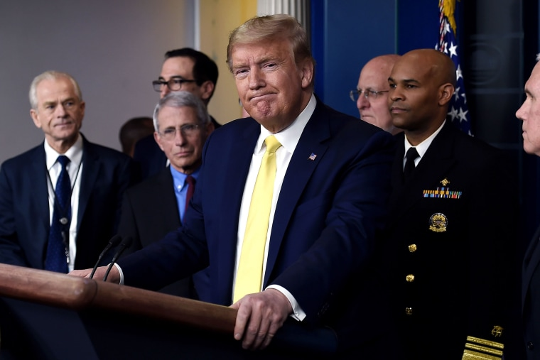 Image: President Donald Trump speaks about the COVID-19 (coronavirus) alongside members of the Coronavirus Task Force in the Brady Press Briefing Room at the White House