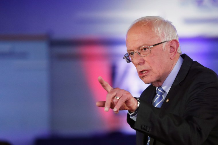 Image: Democratic presidential candidate Bernie Sanders takes part in a FOX News Town Hall with co-moderators Bret Baier and Martha MacCallum in Detroit