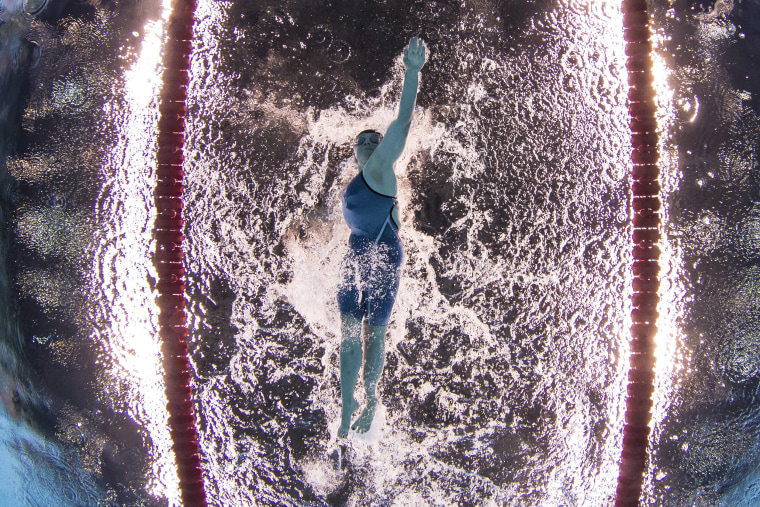 McKenzie Coan of the United States competes to win the gold medal in the women's 100-meter freestyle S7 swimming event at the Paralympic Games