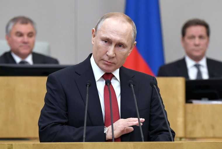 Image: Russian President Vladimir Putin speaks during a session prior to voting for constitutional amendments at the State Duma, the Lower House of the Russian Parliament in Moscow