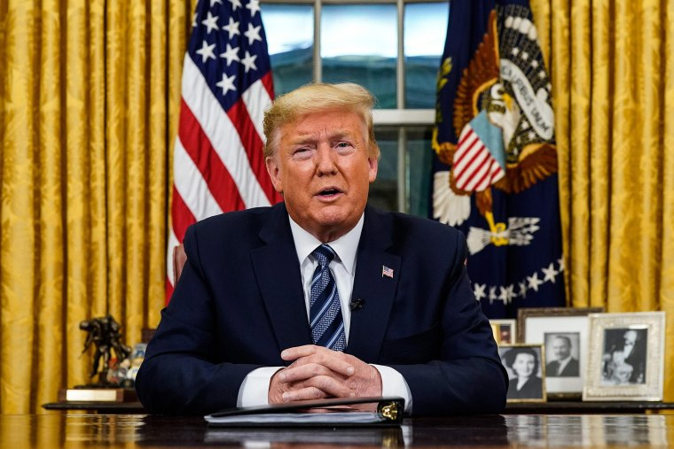 Image: President Donald Trump addresses the Nation from the Oval Office about the widening novel coronavirus (Covid-19) crisis on March 11, 2020.