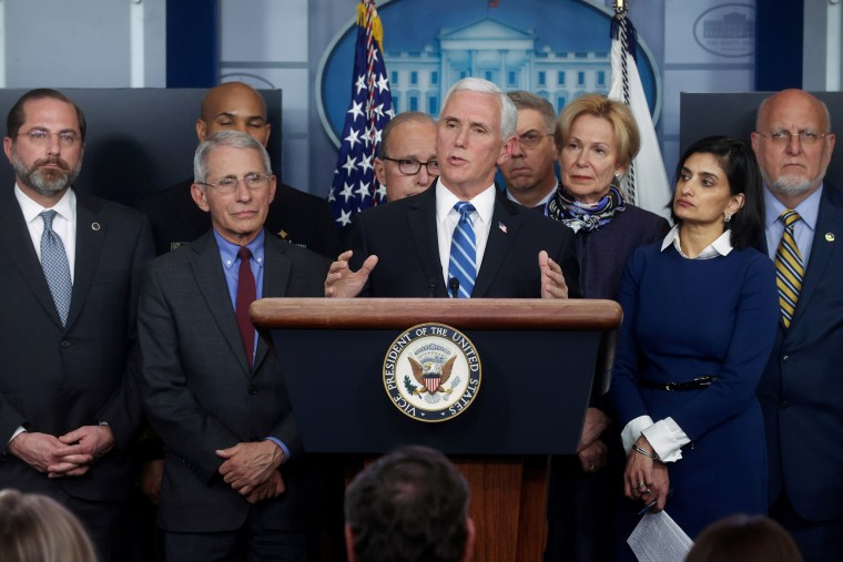 Image: Vice President Mike Pence addresses reporters during his daily Coronavirus Task Force news briefing at the White House