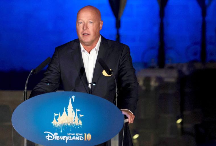 Image: FILE PHOTO: Bob Chapek, chairman of Walt Disney Parks and Resorts, speaks during the 10th anniversary ceremony of Hong Kong Disneyland in Hong Kong