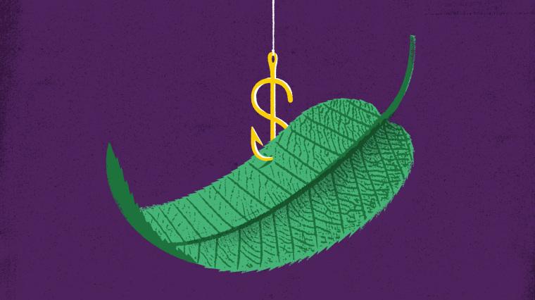 Illustration of dollar sign shaped hook picking up green leaf.
