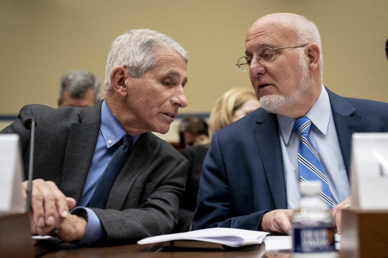 Image: Dr. Anthony Fauci, Director, National Institute of Allergy and Infectious Diseases at National Institutes of Health, and Dr. Robert Redfield, director of the Centers for Disease Control and Prevention (CDC), in the Rayburn House Office Building on