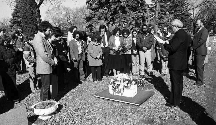 Mourners gather to bury Andrew John Doe on March 7, 1981, in Sioux Falls, S.D.