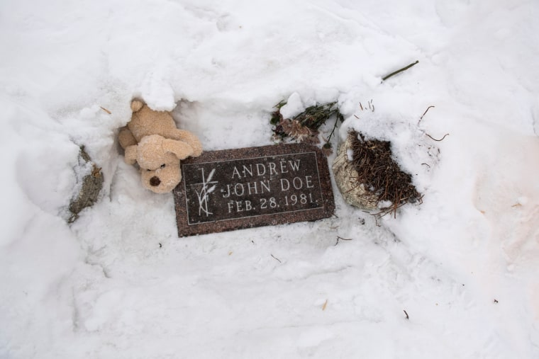 The grave of Baby Andrew John Doe, an infant who was found dead in a ditch in 1981 in Sioux Falls, S.D.