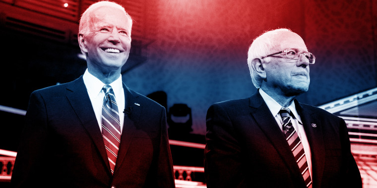 Joe Biden and Bernie Sanders during the second democratic debate in Miami on June 27, 2019.