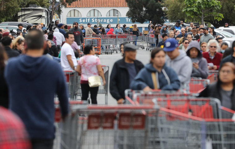 Image: Shoppers Stock Up On Food And Supplies As Coronavirus Cases Spread Throughout Country