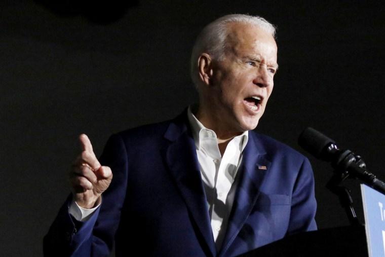 Image: Joe Biden speaks at Tougaloo College in Miss., on March 8, 2020.