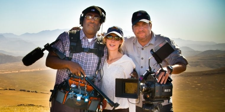 TODAY producer Robin Sindler, center, teamed up with Larry Edgeworth, left, on several assignments at NBC News, including this 2011 shoot in Namibia.