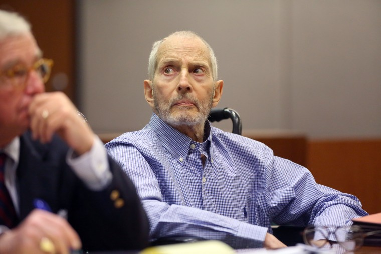 Robert Durst attends a motions hearing on capital murder charges in the death of Susan Berman with attorney Dick DeGuerin in Los Angeles