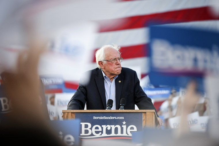 Image: Sen. Bernie Sanders, I-VT, speaks to supporters at a rally in Denver on Sept. 9. 2019.