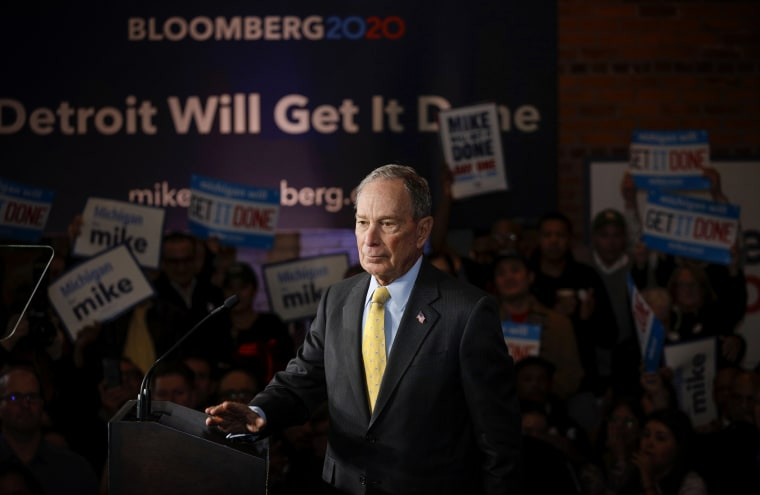 Image: Mike Bloomberg speaks at a campaign event in Detroit on Feb. 4, 2020.