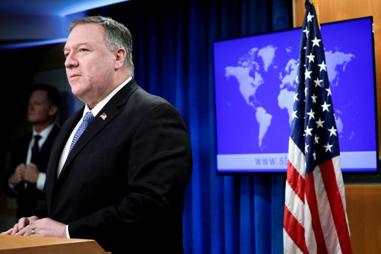 Image: Secretary of State Pompeo speaks to the media in Washington