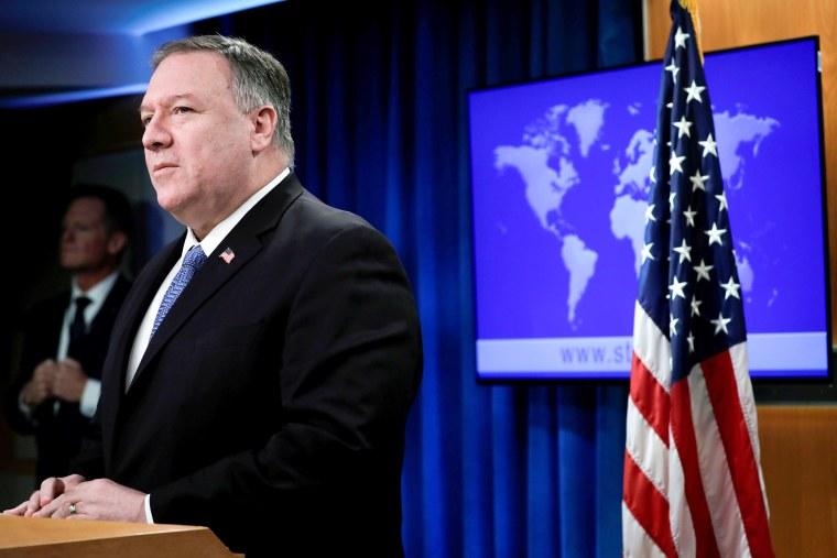Image: Secretary of State Pompeo speaks to the media in Washington