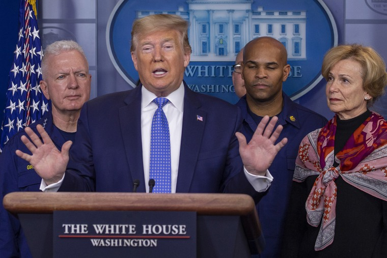 Image: President Donald Trump speaks to the media in the press briefing room at the White House