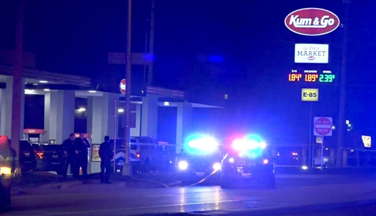 Image:  Five people were killed, including a police officer, after a shooter opened fire at a convenience store overnight in Missouri.