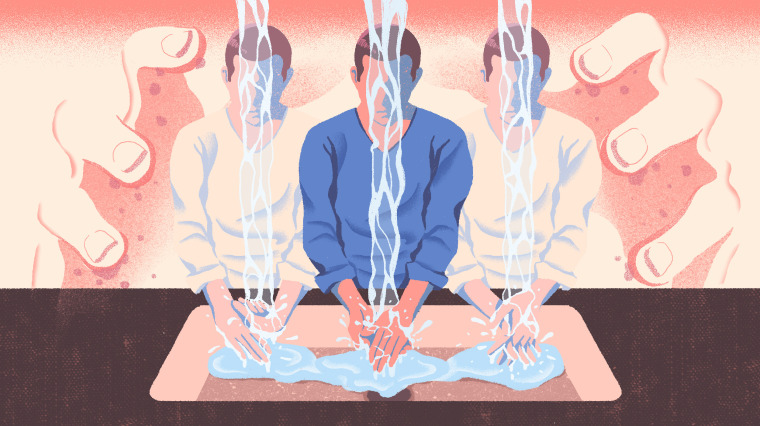 Illustration of figures washing hands as large hands hover behind the figures.