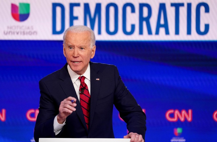 Image: Democratic presidential candidate and former Vice President Joe Biden speaks at the 11th Democratic candidates debate of the 2020 U.S. presidential campaign in Washington