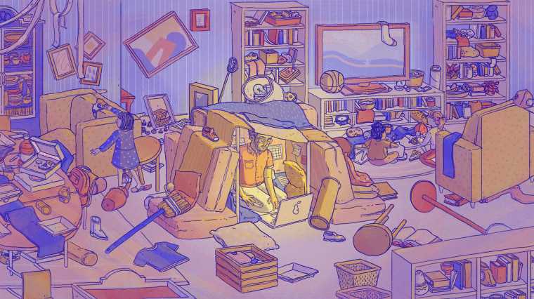 Illustration of parent trying to work on laptop beneath a pillow fort as children run amok around him.