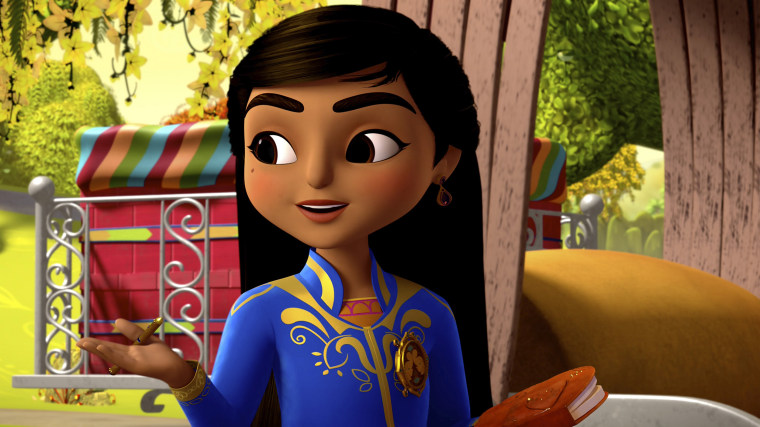 "Disney Junior's character Mira, voiced by Leela Ladnier, from the animated series ""Mira, Royal Detective."""