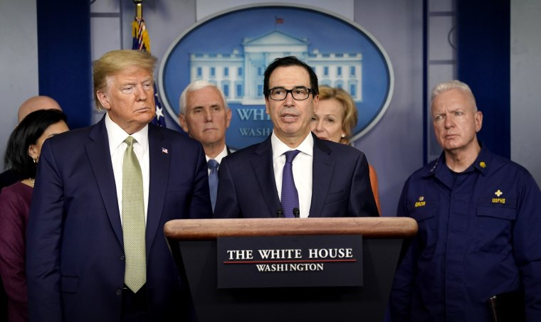 Image: Treasury Secretary Steve Mnuchin speaks at a press briefing at the White House on March 17, 2020.