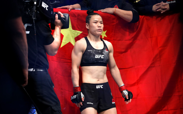 Image: Zhang Weili at a UFC women's championship match in Las Vegas on March 7, 200.