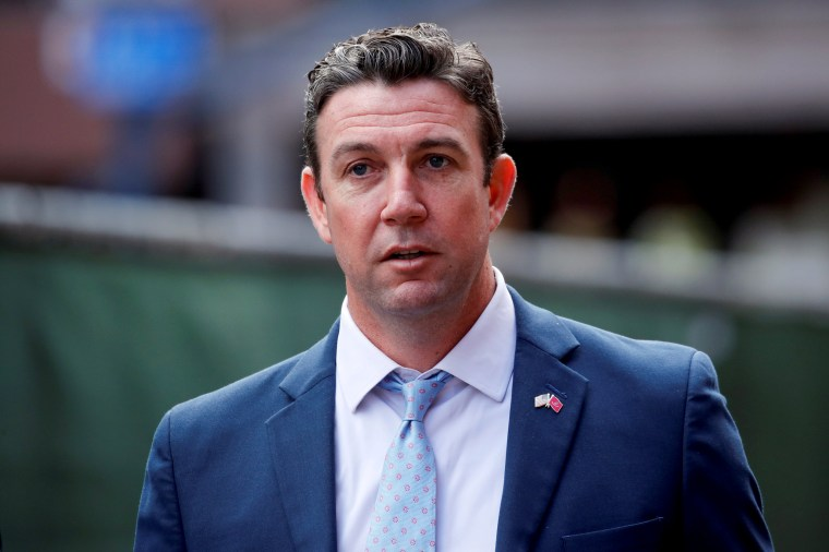 Image: Duncan Hunter leaves federal court after being sentenced to 11 months in prison on a corruption charge in San Diego, Calif., on March 17, 2020.